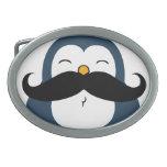 Mustache Penguin Oval Belt Buckle