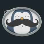 "Mustache Penguin Oval Belt Buckle<br><div class=""desc"">A cute blue chubby penguin with a huge black trendy mustache.</div>"