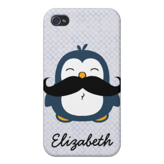Mustache Penguin Personalize Name iPhone 4 Case
