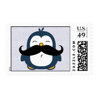 Mustache Penguin Postage Stamp