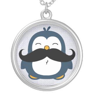 Mustache Penguin Round Pendant Necklace