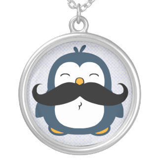 Mustache Penguin Silver Plated Necklace