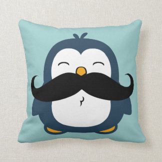 Mustache Penguin Throw Pillow