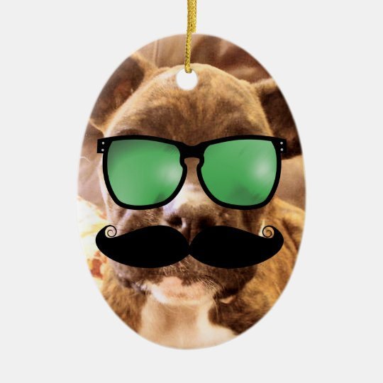 Mustache Photo Christmas Ornament