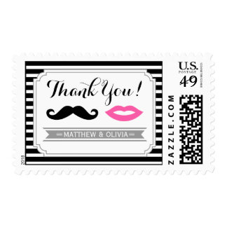 Mustache & Pink Lips Wedding Stripes Thank You Postage