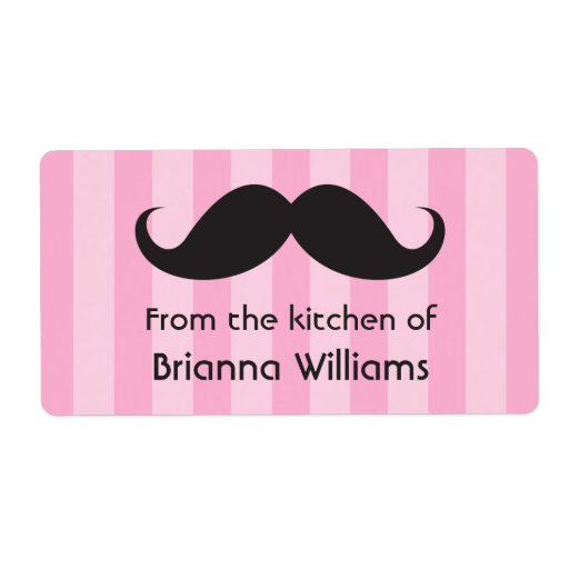 Mustache pink stripes from the kitchen of labels