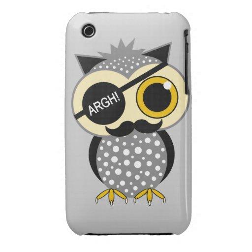 mustache pirate owl Case-Mate iPhone 3 cases