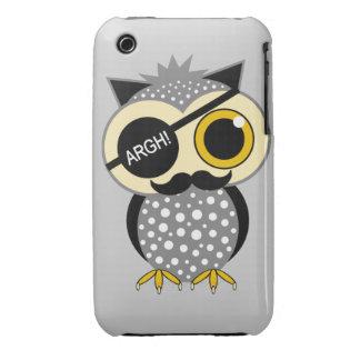 mustache pirate owl iPhone 3 case