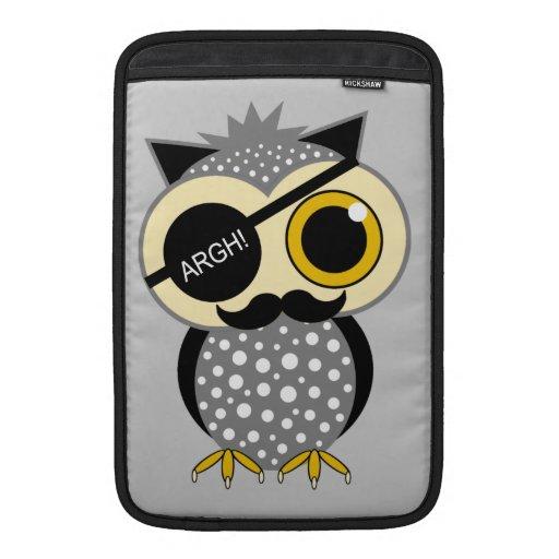 mustache pirate owl MacBook air sleeve