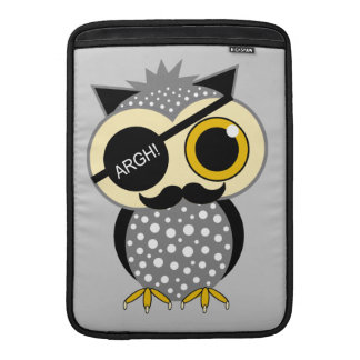 mustache pirate owl MacBook sleeve
