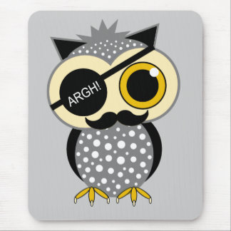 mustache pirate owl mouse pad