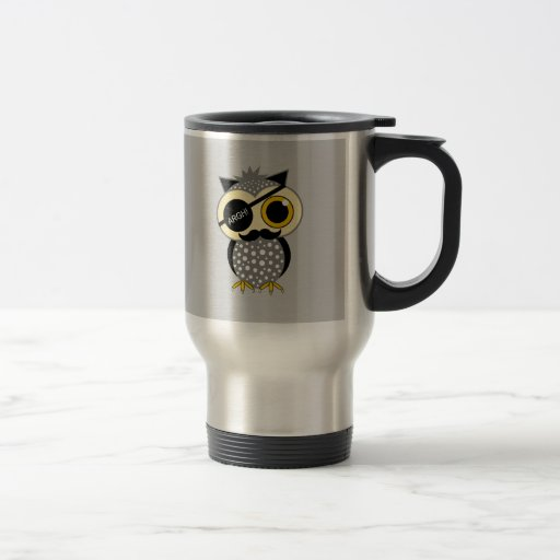 mustache pirate owl 15 oz stainless steel travel mug