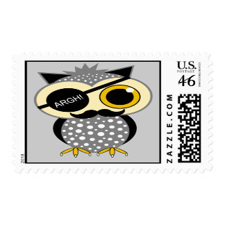 mustache pirate owl postage stamp