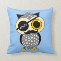 mustache pirate owl throw pillow