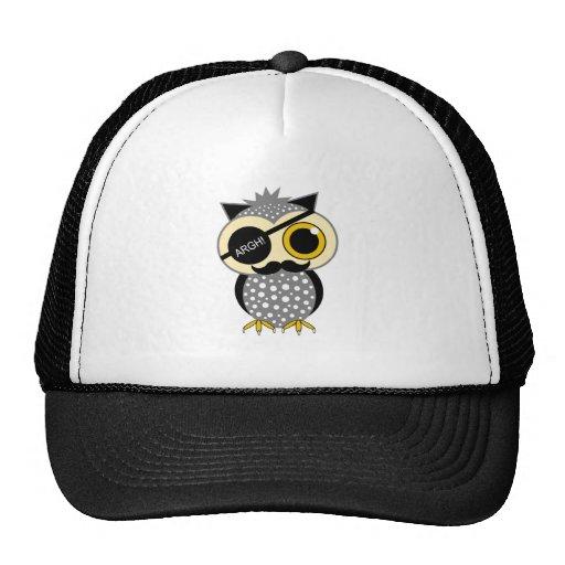 mustache pirate owl trucker hat