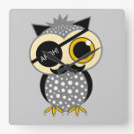 mustache pirate owl wallclocks