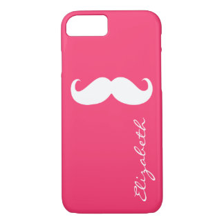 Mustache Plain Hot Pink Background iPhone 7 Case