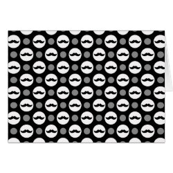 Greeting Card with Mustache Polka Dots design