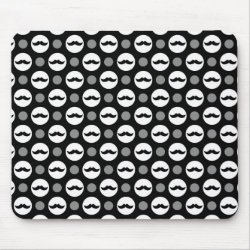 Mousepad with Mustache Polka Dots design