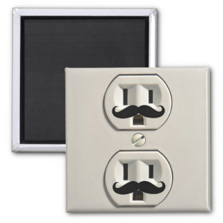 Mustache power outlet 2 inch square magnet