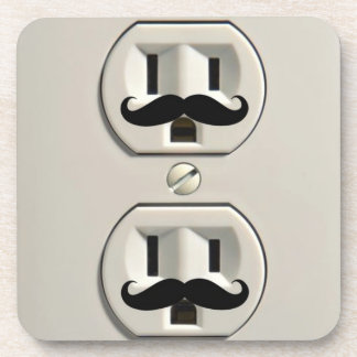 Mustache power outlet beverage coaster
