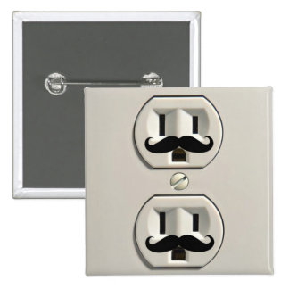 Mustache power outlet pinback buttons