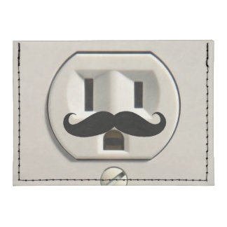 Mustache power outlet card wallet