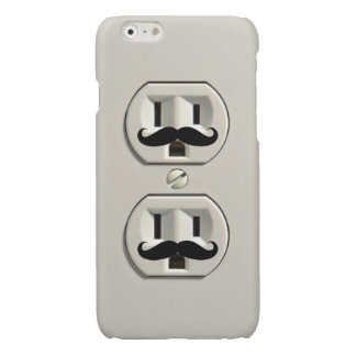 Mustache power outlet glossy iPhone 6 case