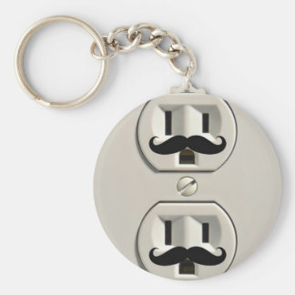 Mustache power outlet keychain