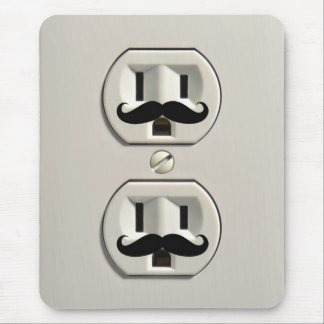 Mustache power outlet mouse pad