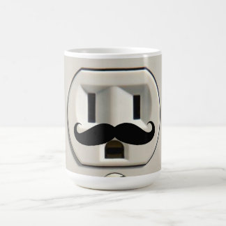 Mustache power outlet mugs