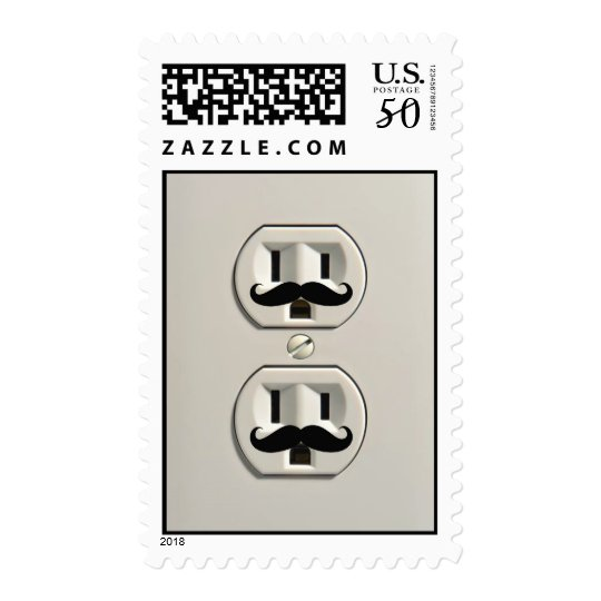 Mustache power outlet postage