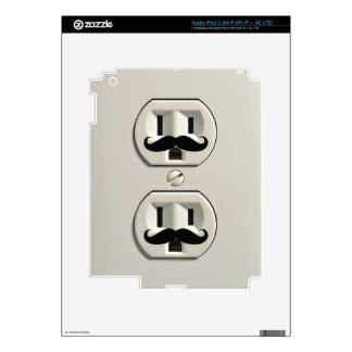Mustache power outlet iPad 3 decals