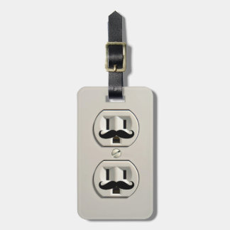 Mustache power outlet tags for luggage