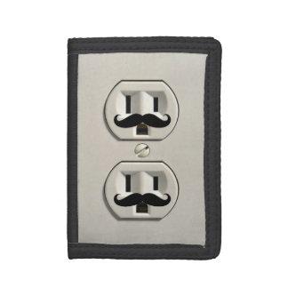 Mustache power outlet tri-fold wallets