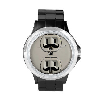 Mustache power outlet wristwatches
