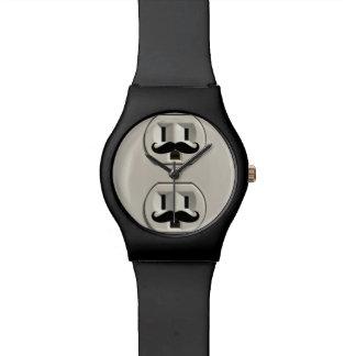 Mustache power outlet wristwatch