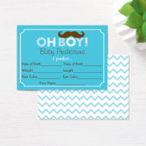Mustache Predictions For Baby Game Business Card