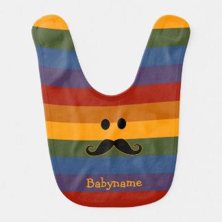 Mustache Pride custom baby bib