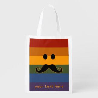 Mustache Pride custom reusable bag Reusable Grocery Bags