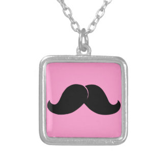 Mustache products silver plated necklace