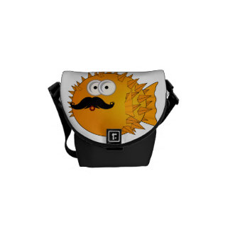 Mustache Puffer Fish Courier Bag