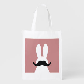 Mustache rabbit reusable grocery bag