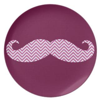 Mustache Radiant Orchid Purple Chevron Pattern Fun Dinner Plate