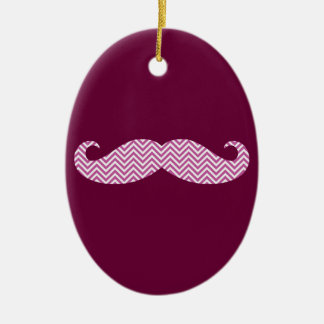 Mustache Radiant Orchid Purple Chevron Pattern Fun Christmas Ornaments