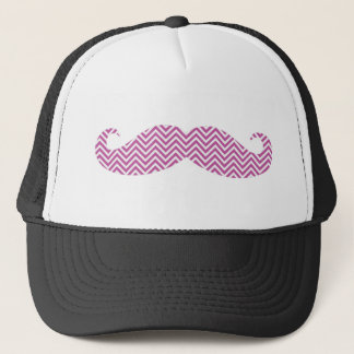 Mustache Radiant Orchid Purple Chevron Pattern Fun Trucker Hat