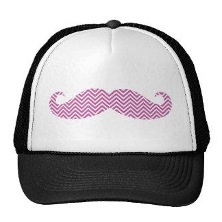 Mustache Radiant Orchid Purple Chevron Pattern Fun Trucker Hat