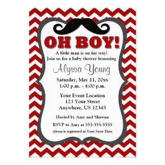 Mustache Red Chevron Baby Shower Invite