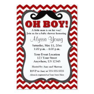 """Mustache Red Chevron Baby Shower Invite 5"""" X 7"""" Invitation Card"""