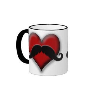 Mustache Red Heart Coffee Mug